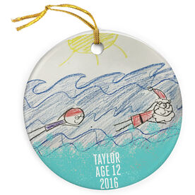 Swimming Porcelain Ornament Your Artwork Here Border