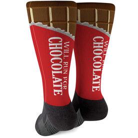 Running Printed Mid-Calf Socks - Will Run For Chocolate