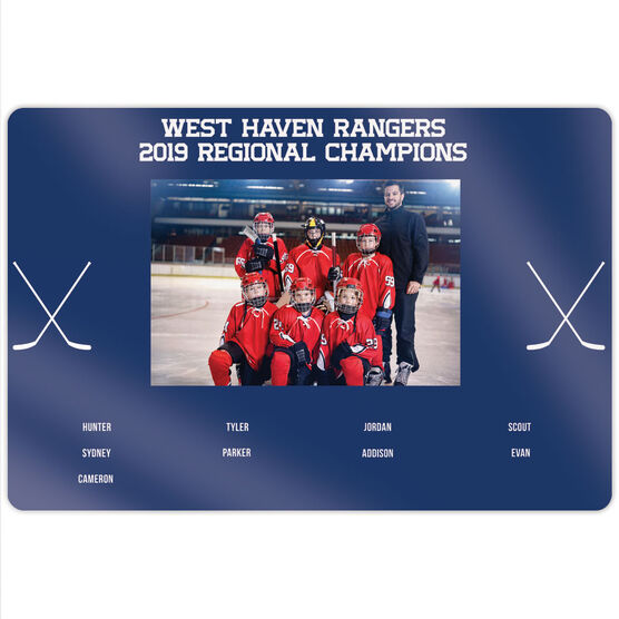 """Hockey 18"""" X 12"""" Aluminum Room Sign - Team Photo With Roster"""