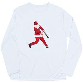 Baseball Long Sleeve Performance Tee - Home Run Santa