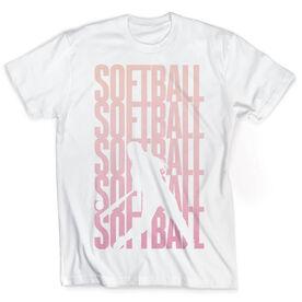 Vintage Softball T-Shirt - Softball Fade Silhouette