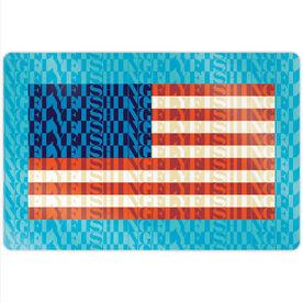 "Fly Fishing 18"" X 12"" Aluminum Room Sign - American Flag Mosaic"