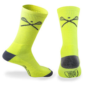 Lacrosse Woven Mid Calf Socks - Crossed Sticks (Neon/Gray)