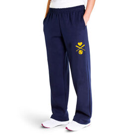 Softball Fleece Sweatpants - Crossed Softball Bats