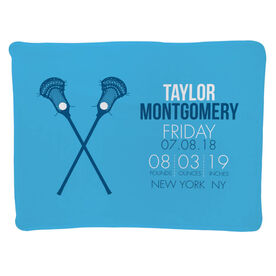 Guys Lacrosse Baby Blanket - Birth Announcement