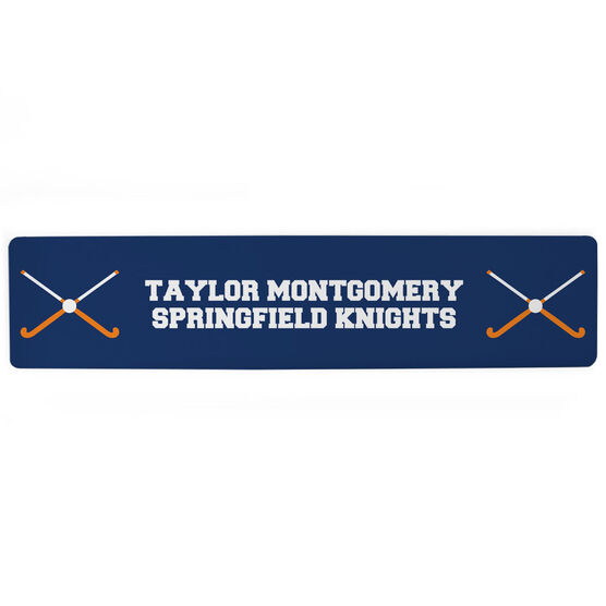 "Field Hockey Aluminum Room Sign - Team Your Text With Crossed Sticks (4""x18"")"