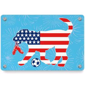 Soccer Metal Wall Art Panel - Patriotic Sammy The Soccer Dog