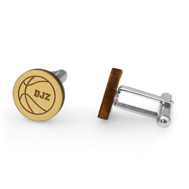 Basketball Engraved Wood Cufflinks Ball with your Initials