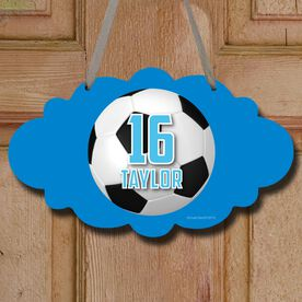 Soccer Cloud Sign Personalized Big Number with Soccer Ball