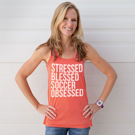 Soccer Flowy Racerback Tank Top - Stressed Blessed Soccer Obsessed