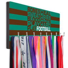 Football Hooked on Medals Hanger - Bones Saying