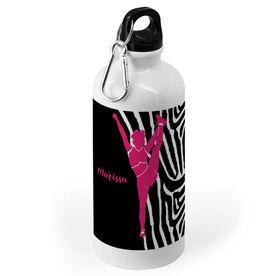 Cheerleading 20 oz. Stainless Steel Water Bottle - Cheerleader with Zebra Pattern