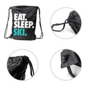 Skiing & Snowboarding Sport Pack Cinch Sack Eat. Sleep. Ski.