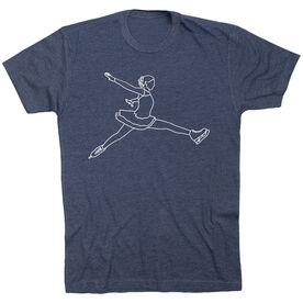 Figure Skating Short Sleeve T-Shirt - Figure Skating Player Sketch