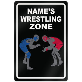 "Wrestling 18"" X 12"" Aluminum Room Sign Personalized Wrestling Zone"
