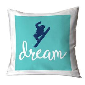 Snowboarding Throw Pillow - Dream