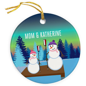 Crew Porcelain Ornament Snowman Mother and Child