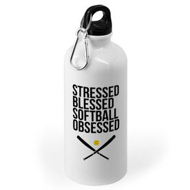 Softball 20 oz. Stainless Steel Water Bottle - Stressed Blessed Softball Obsessed