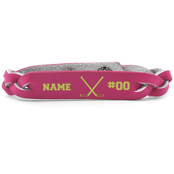 Hockey Leather Engraved Bracelet Name Crossed Sticks Number