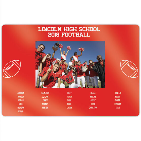 """Football 18"""" X 12"""" Aluminum Room Sign - Team Photo With Roster"""