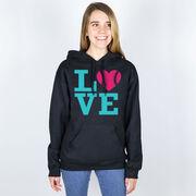 Softball Hooded Sweatshirt - LOVE Softball Pink Teal