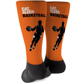 Basketball Printed Mid-Calf Socks - Eat Sleep Basketball Guy