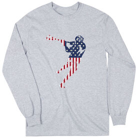 Guys Lacrosse Long Sleeve T-Shirt - American Flag Silhouette