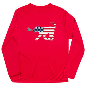 Girls Lacrosse Long Sleeve Performance Tee - Patriotic LuLa the Lax Dog