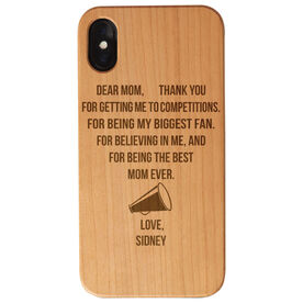 Cheerleading Engraved Wood IPhone® Case - Dear Mom Thank You Heart