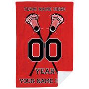 Guys Lacrosse Premium Blanket - Personalized Crossed Sticks Team