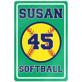 "Softball Aluminum Room Sign Personalized Softball (18"" X 12"")"