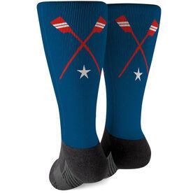 Crew Printed Mid-Calf Socks - Crossed Oars Team Colors