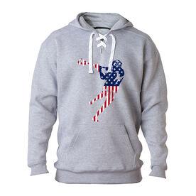 Guys Lacrosse Sport Lace Sweatshirt - American Flag Silhouette