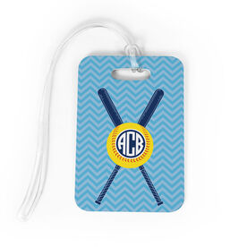 Softball Bag/Luggage Tag - Monogrammed with Crossed Bats and Chevron