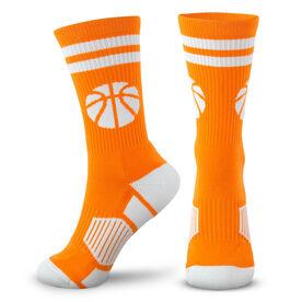 Basketball Woven Mid-Calf Socks - Ball (Orange/White)