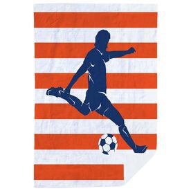 Soccer Premium Blanket - Stripes with Guy Player