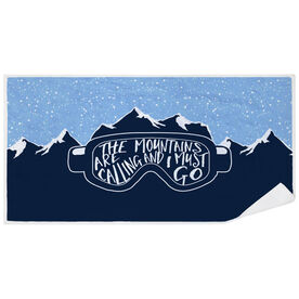 Skiing & Snowboarding Premium Beach Towel - The Mountains Are Calling