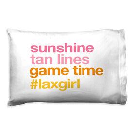 Girls Lacrosse Pillow Case - Sunshine Tan Lines Game Time