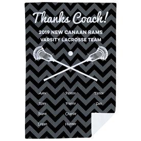 Guys Lacrosse Premium Blanket - Personalized Thanks Coach Chevron