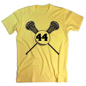 Guys Lacrosse Short Sleeve T-Shirt - Personalized Lacrosse Sticks Number