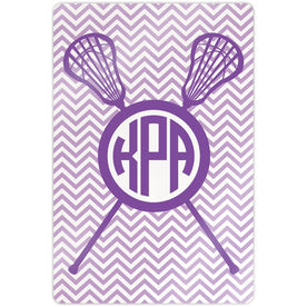 "Girls Lacrosse 18"" X 12"" Aluminum Room Sign - Monogram with Crossed Sticks and Chevron"