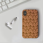Football Engraved Wood IPhone® Case - Football Pattern