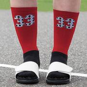 Soccer Printed Mid-Calf Socks - Custom Numbers