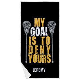 Guys Lacrosse Premium Beach Towel - Personalized My Goal Is To Deny Yours