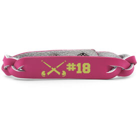 Field Hockey Leather Engraved Bracelet Crossed Sticks with Number
