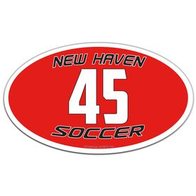 Soccer Oval Car Magnet Team Name and Number