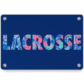 Girls Lacrosse Metal Wall Art Panel - Floral