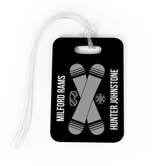 Snowboarding Bag/Luggage Tag - Personalized Text with Crossed Boards