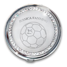 Silver Personalized Soccer Compact Mirror