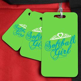 Softball Bag/Luggage Tag Softball Girl Script w/Crown